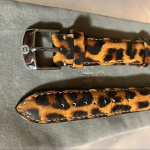 Michele leopard print leather watch band